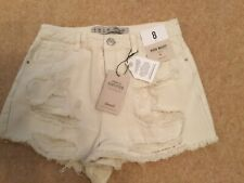Primark Ripped Denim Shorts Cream UK8 BNWT