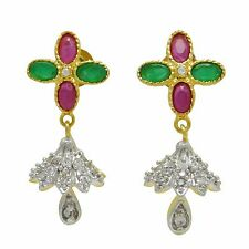 Indian Bollywood AD Stone Dangle Earring Set Wedding Traditional Jewelry ADE104A