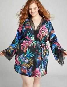 Lane Bryant Cacique Robe Kimono Self Tie Jungle Floral Lace Plus Size 26 / 28