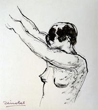 Pierre ZÉNOBEL (1905-1996) Dessin NU Années 70 Ecole de Paris Art Déco Fauvisme