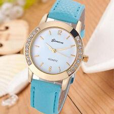 Ginebra Mujer Diamante De Cuero Cuarzo Reloj Pulsera Chiristmas Regalo HOT Watch