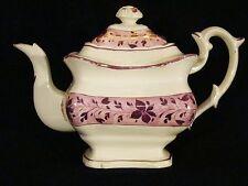 Antique Lustreware Staffordshire Pink Lustre Teapot c1820-1840's