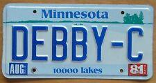 Minnesota 1981 VANITY License Plate DEBBY-C