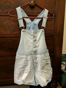 girl's junior jean overall shorts NOBO size M 7-9 mid rise ~ light wash distress