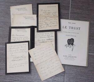 (158B) Paul ADAM Le trust + lettres de l'auteur Château Montebise Ferté/Jouarre