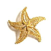 Vintage Starfish Gold Tone Textured Mixed Metal Pin Brooch Jewelry Signed 9571