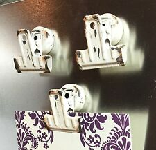 (3) Refrigerator Magnet Hook Clips Cream Metal 1 in Shabby Chic