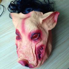Halloween Creepy Animal Prop Latex Party Unisex Scary Pig Head Mask+Hair Cosplay