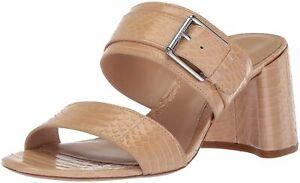 Ralph Lauren Beige Snake Leather Farie Heeled Slide Sandals Shoes NEW 9.5 B