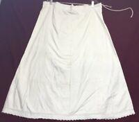 Vintage Ladies Underskirt Slip Cream Linen Pettiecoat Drawstring