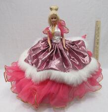 Handmade Barbie Doll Hoop Dress Pink Fur Trim Princess Southern Belle Wedding