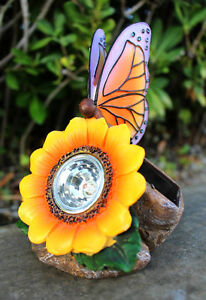 Solar Outdoor Garden Decor Rock Light with Butterfly and Sunflower LED