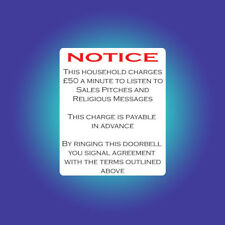 No Soliciting Charge £50 per minute Funny Door Sign Home Salesmen Junk Mail C271