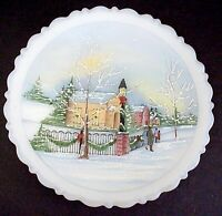 Fenton Glass Christmas At Home Xmas Eve Plate 2nd In Series 1991