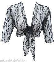 Ladies new Black lace 3/4 sleeve shrug bolero top size 16 - 26 crop cardi jacket