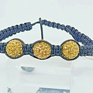 Lucet Mundi Ladies Gold Three Ball Crystal and Hematite Shamballa Bracelet