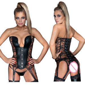 Sexy Steampunk Overbust Leather Floral Lace Up Hollow Out Corset Lingerie Set