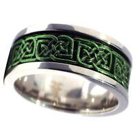 Green Celtic Spinner Ring Womens Mens 8mm Size 5-15 Wedding Band Handfasting