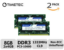 Timetec 2x4GB DDR3 1333MHz PC3-10600 Non-ECC 1.5V 2Rx8 SODIMM Laptop Memory RAM