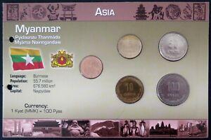 3.MYAX01 - COINSET MYANMAR - 5 pièces 1 à 100 kyats