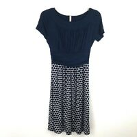 Gilli Modcloth Womens Short-Sleeve Dress Ruched Top Polka Dot Skirt Blue Small