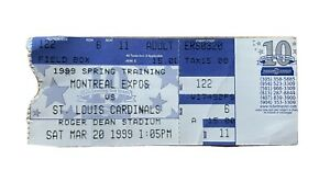 Montreal Expos VS St. Louis Cardinals Spring Training FULL Ticket March 20, 1999