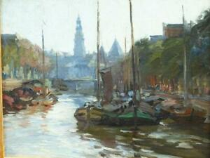 c1900 FRENCH IMPRESSIONIST CITY VIEW MOORED RIVER BOATS Antique Oil Painting