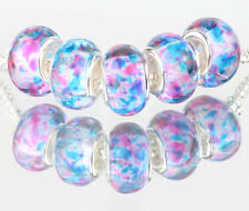 5pcs SILVER MURANO LAMPWORK Beads Fit European Charm Bracelet DIY #D500
