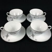 Set of 4 VTG Cups & Saucers by Noritake China STELLA 6602 MCM Starbursts Japan