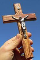 Holyland Jesus Crucifix Bible Stone Sand 4 elemant Holy Olive Wood Wall Cross