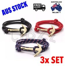 Mens Bracelets Wristband Rope Anchor Hook Wrap Jewellery Accessory