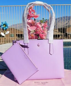🌸 NWT Kate Spade New York Molly Small Leather Tote with Pouch Iris Bloom NEW