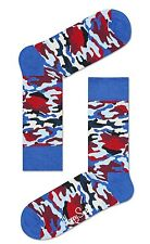 Happy Socks Blue Red Bark Design Camouflage Pattern Sock Camo Size 4 - 7 Unisex