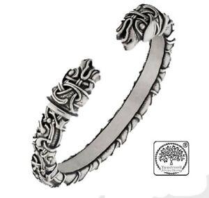Viking Solid Quality Silver Dragon Raven Head Nordic Norse Pagan Bracelet Bangle