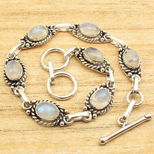 Love Gifts For Husband ! Silver Plated RAINBOW MOONSTONE LINK BRACELET 20 cm