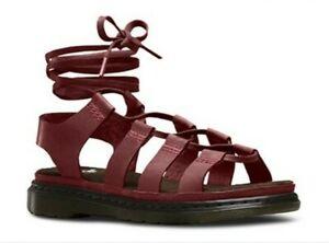 Dr MARTENS Kristina Cherry Red Gladiator Lace Up Sandals Size UK 7
