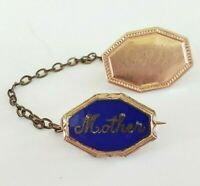 Vintage WWII Mother Enamel Sweetheart Gold Tone Pin Name Etched Dottie