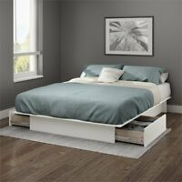 South Shore Gramercy Full Queen Platform Bed with Drawer in White