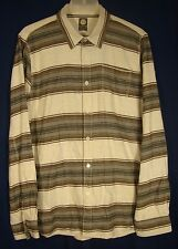 Element XL Slim Fit L/S Flannel Shirt Brown Gray Black Stripes (fit like Medium)