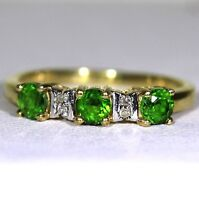 Chrome Diopside & Diamond 9ct Yellow Gold ring size L ~ 5 3/4
