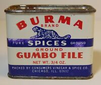 Rare Old Vintage 1950s BURMA GUMBO FILE SPICE TIN LITHO TIGER GRAPHIC SPICE TIN