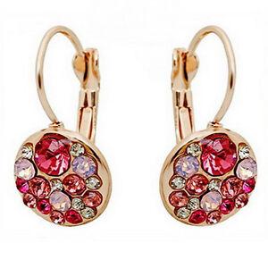 Strass Ohrhänger gold rosa Kristall Ohrringe Ohrschmuck