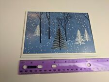 Hallmark Connections Christmas Holiday Card Blue White Silver Trees Snow Forest