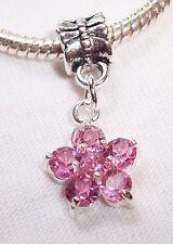 Pink Rhinestone Flower October Birthstone Dangle Bead for Euro Charm Bracelets