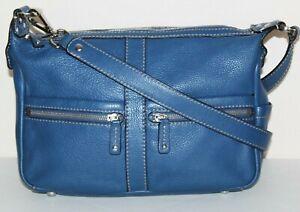 TIGNANELLO Cobalt blue supple leather multi-pocket cross body tote bag