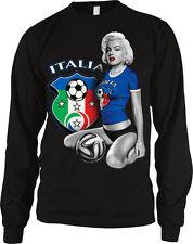 Marilyn Soccer Italia Italy Pin Up Model Futbol Football  Long Sleeve Thermal