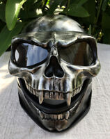 Silver Skull Motorcycle Helmet Skull Death 3D Visor Flip Up Airbrush Novelty New