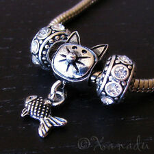 Mischievous Kitty Cat Charm And Birthstone Beads For European Charm Bracelets
