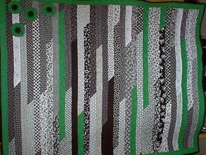 """BLACK & WHITE & GREEN WITH ENVY""  Modern Lap quilt kit 51"" X 64"""