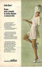 PUBLICITE  1972  BRAUN séche cheveux à coussin d'air